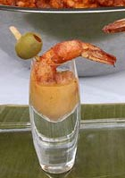 Shrimp Shooter with Avocado and Tomato Bisque, Luis Solano, The Whole  Enchilada