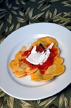 Ravioli Filled with Eggplant & Goat Cheese with heirloom Tomato Sauce & Ricotta Cheese, Olio E. Limone Restaurant
